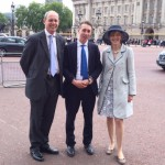 David, Jack, and Annabel Stacey outside Buckingham Palace